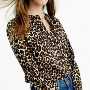 J. Crew Collarless Pocket Blouse (Leopard) (00)
